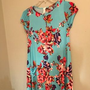 Turquoise Floral Shift Dress